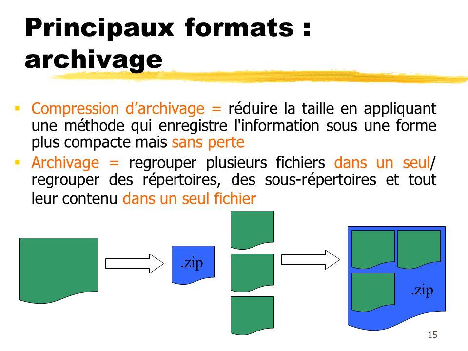 Principaux formats : archivage