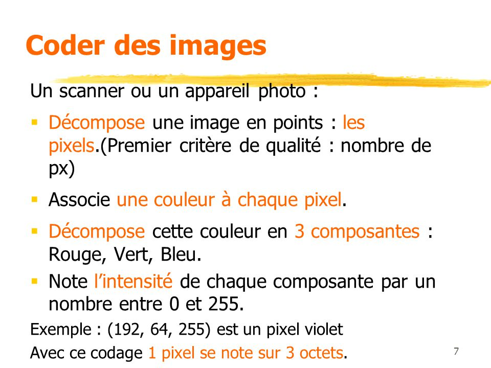Coder des images Un scanner ou un appareil photo :