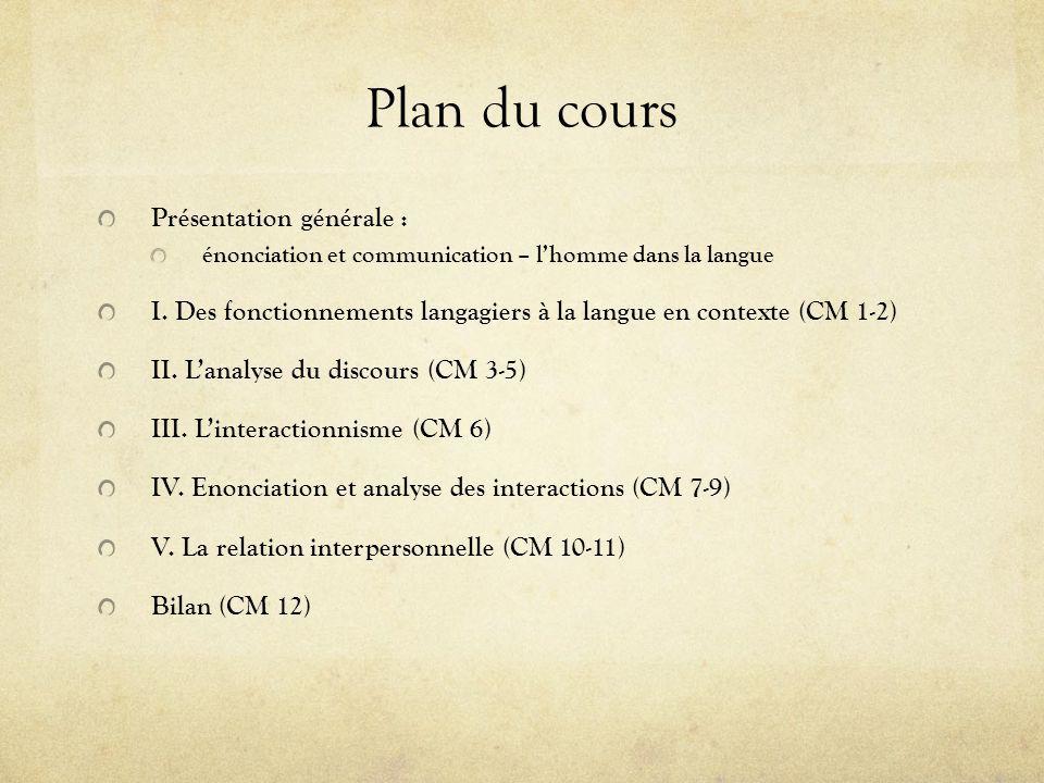 Plan du cours Présentation générale :