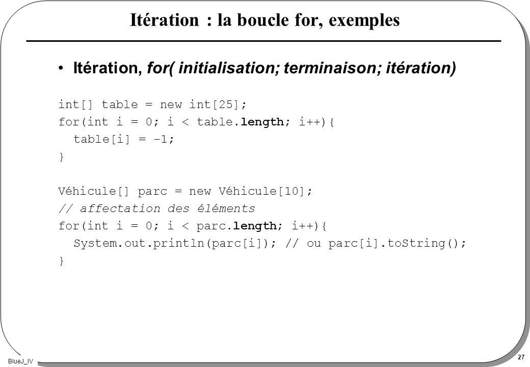 Itération : la boucle for, exemples