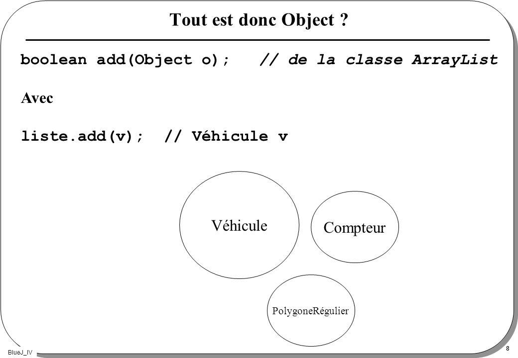 Tout est donc Object boolean add(Object o); // de la classe ArrayList. Avec. liste.add(v); // Véhicule v.