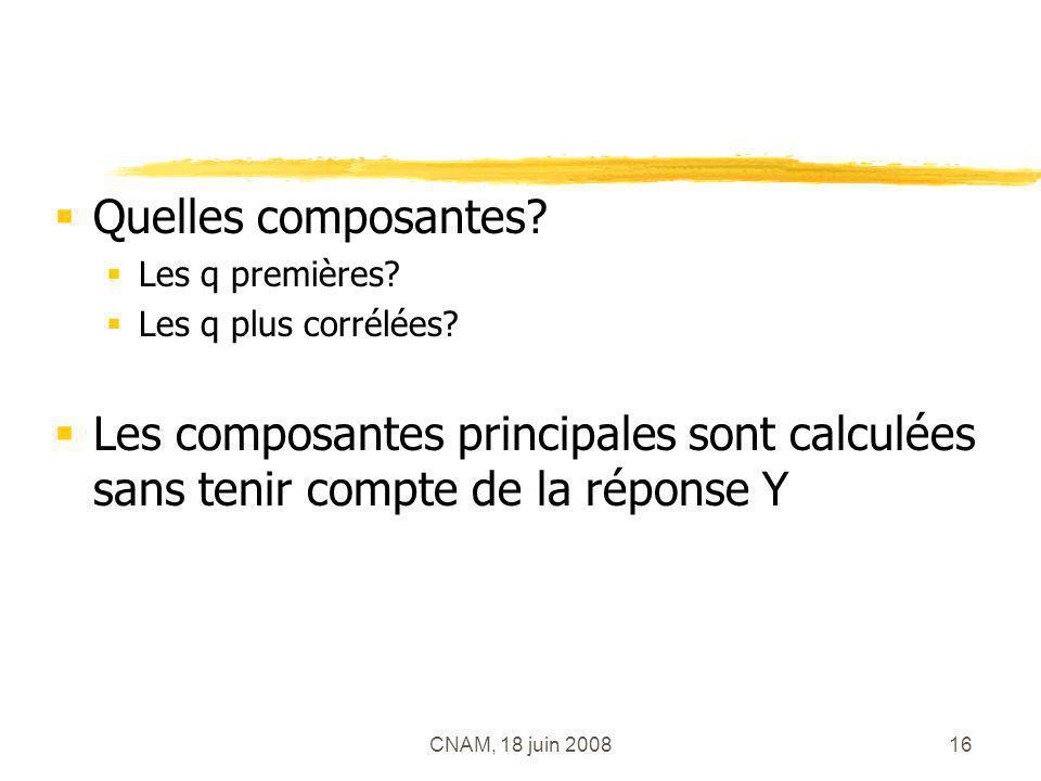 Quelles composantes Les q premières Les q plus corrélées Les composantes principales sont calculées sans tenir compte de la réponse Y.