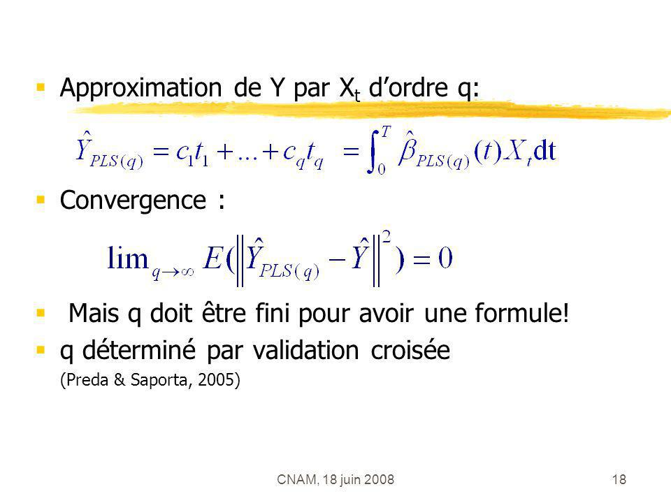 Approximation de Y par Xt d'ordre q: