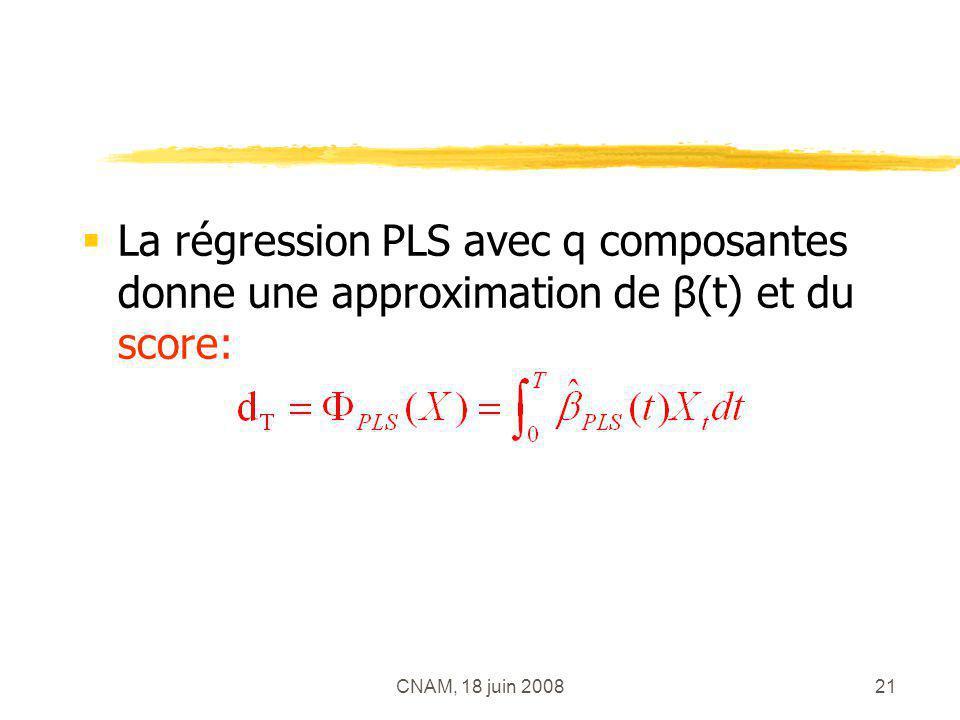 La régression PLS avec q composantes donne une approximation de β(t) et du score: