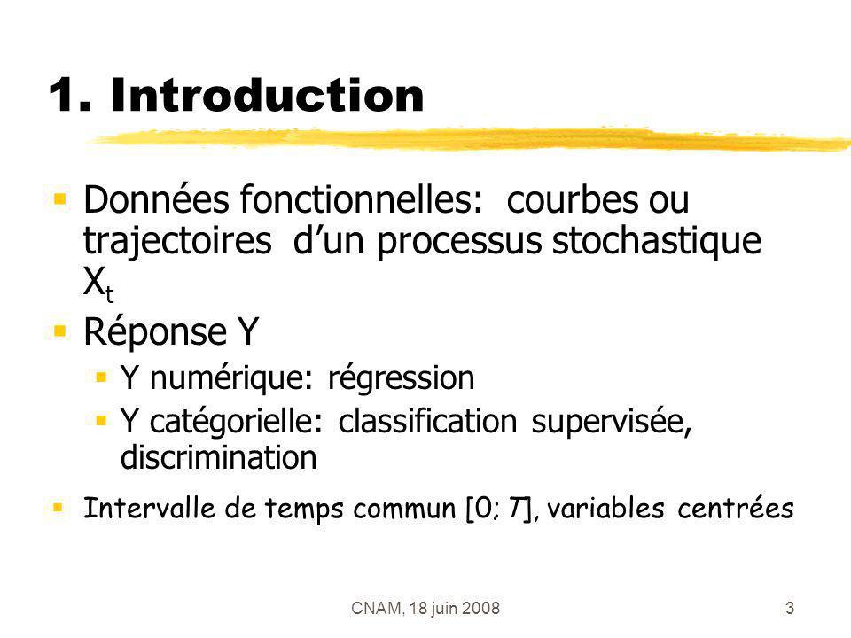 1. Introduction Données fonctionnelles: courbes ou trajectoires d'un processus stochastique Xt. Réponse Y.