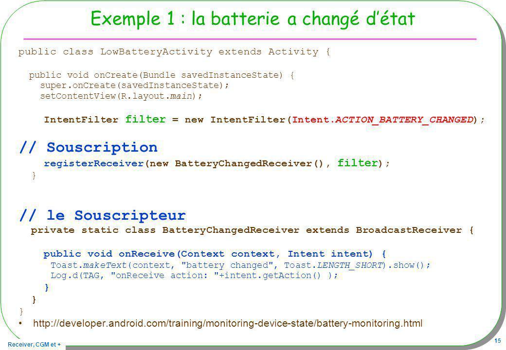 Exemple 1 : la batterie a changé d'état