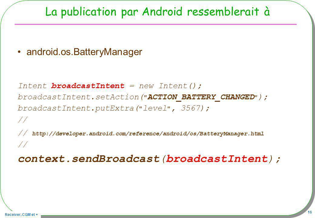 La publication par Android ressemblerait à