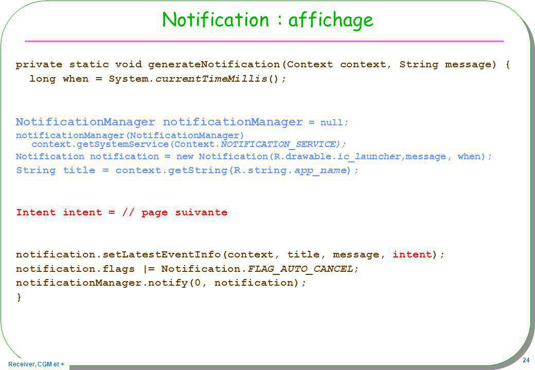 Notification : affichage