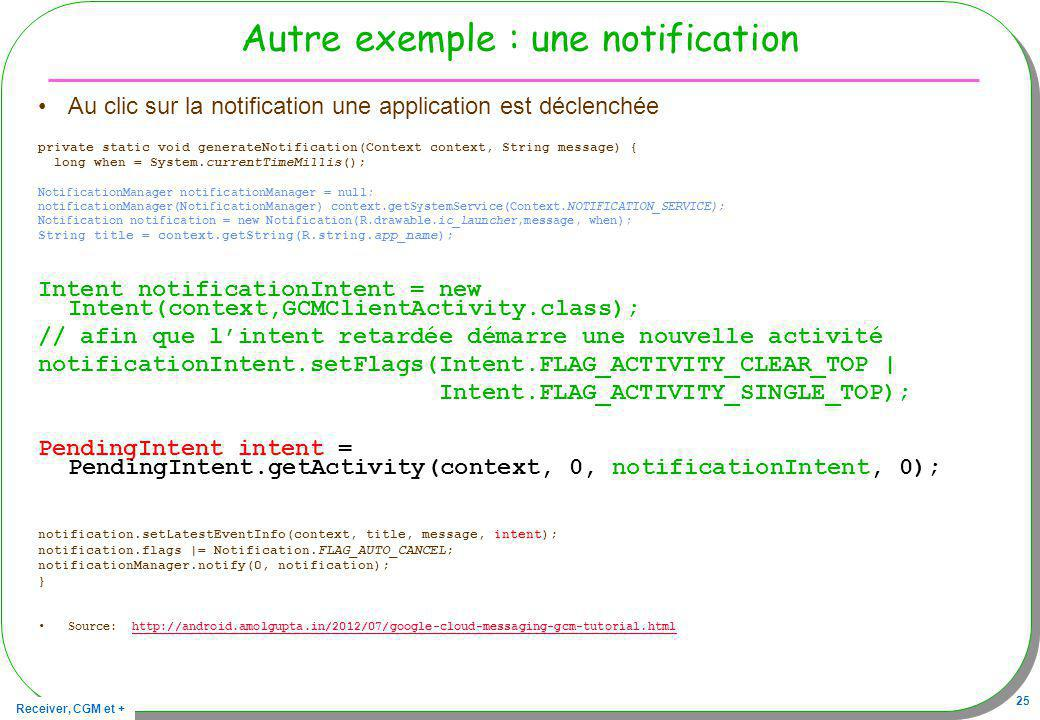 Autre exemple : une notification