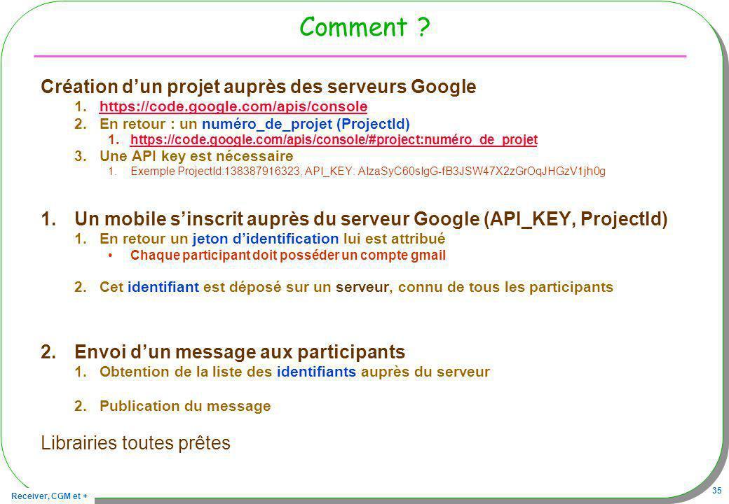 Comment Création d'un projet auprès des serveurs Google