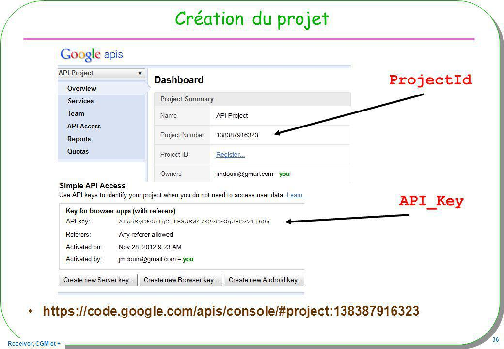 Création du projet ProjectId API_Key