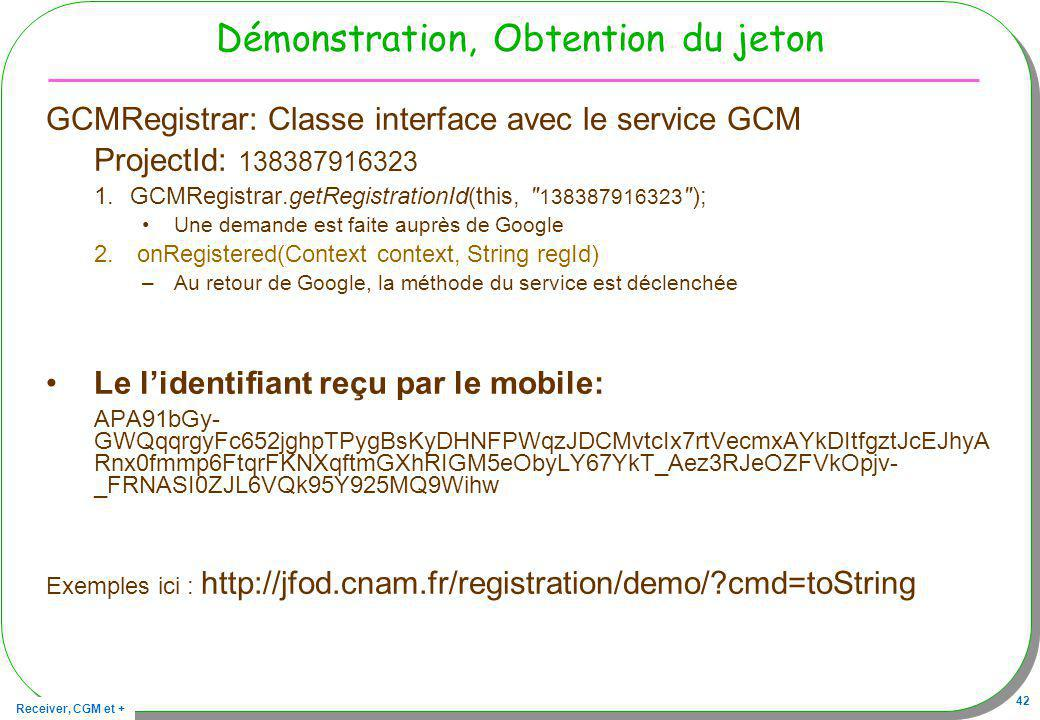 Démonstration, Obtention du jeton