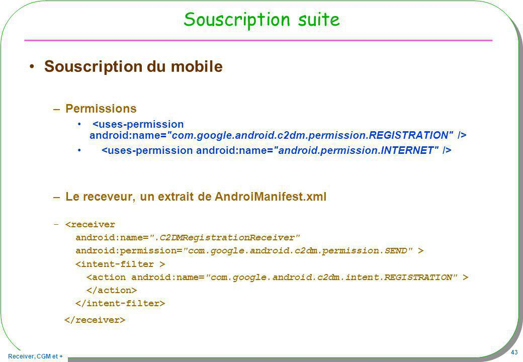 Souscription suite Souscription du mobile Permissions