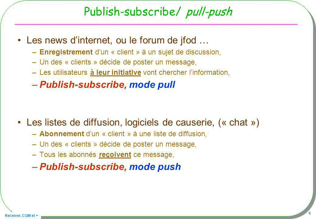 Publish-subscribe/ pull-push