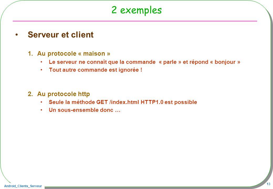 2 exemples Serveur et client Au protocole « maison » Au protocole http
