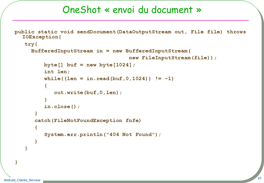 OneShot « envoi du document »