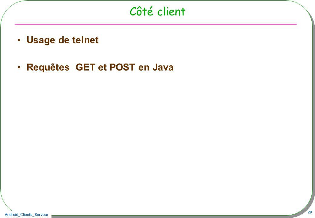 Côté client Usage de telnet Requêtes GET et POST en Java