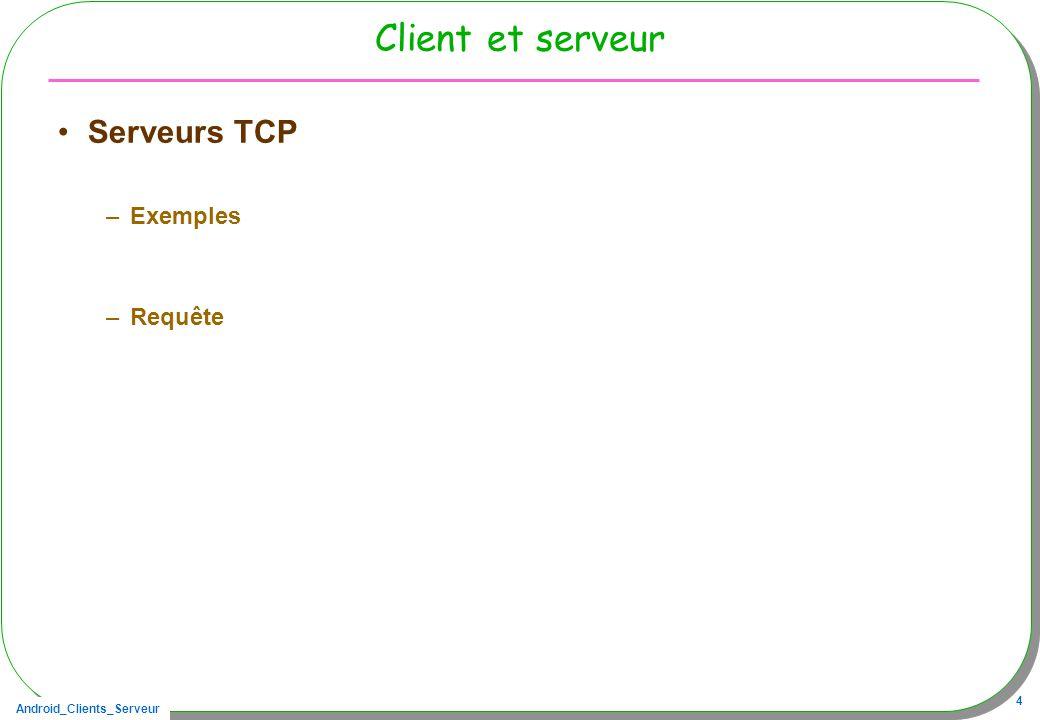 Client et serveur Serveurs TCP Exemples Requête