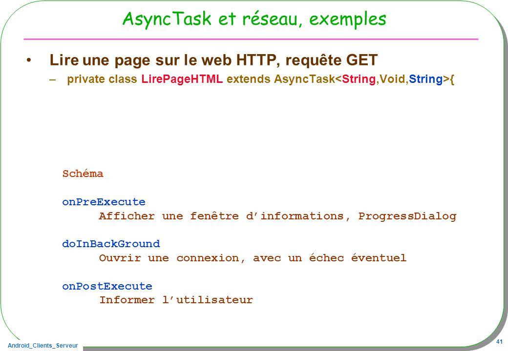 AsyncTask et réseau, exemples