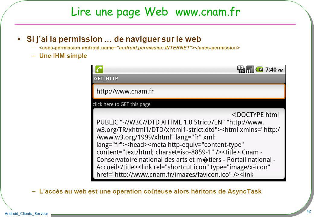 Lire une page Web www.cnam.fr Si j'ai la permission … de naviguer sur le web.