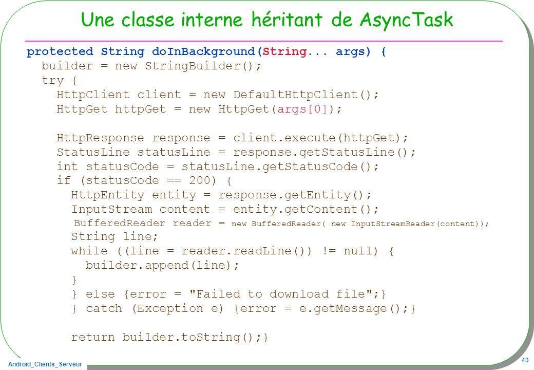 Une classe interne héritant de AsyncTask