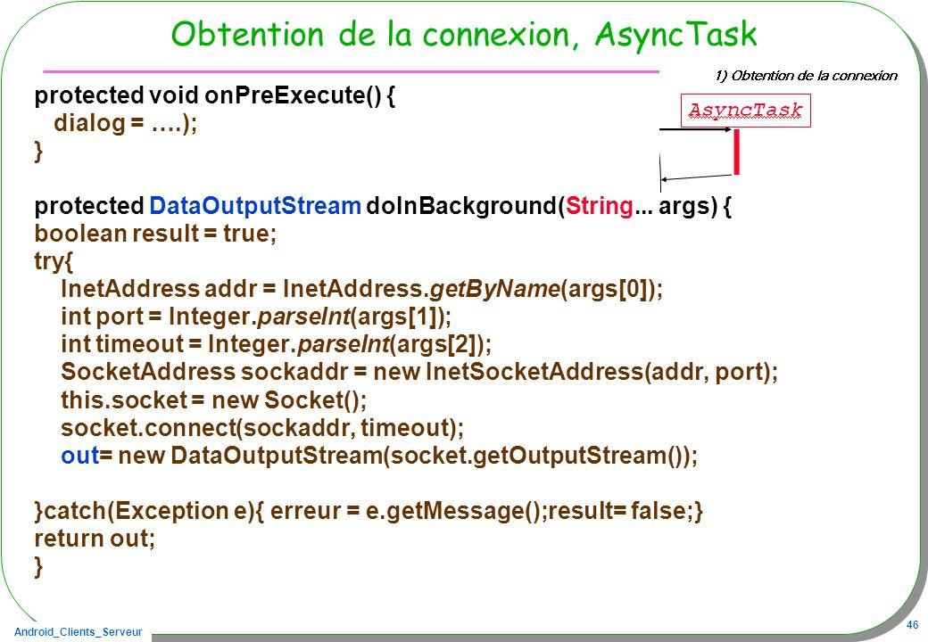 Obtention de la connexion, AsyncTask