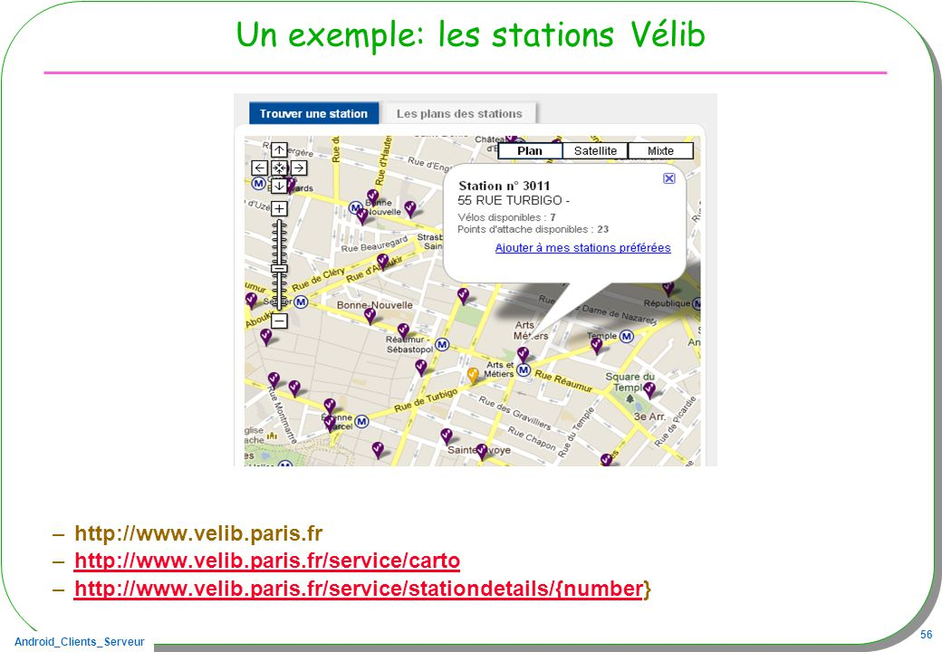 Un exemple: les stations Vélib