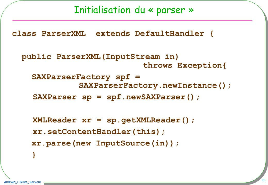 Initialisation du « parser »
