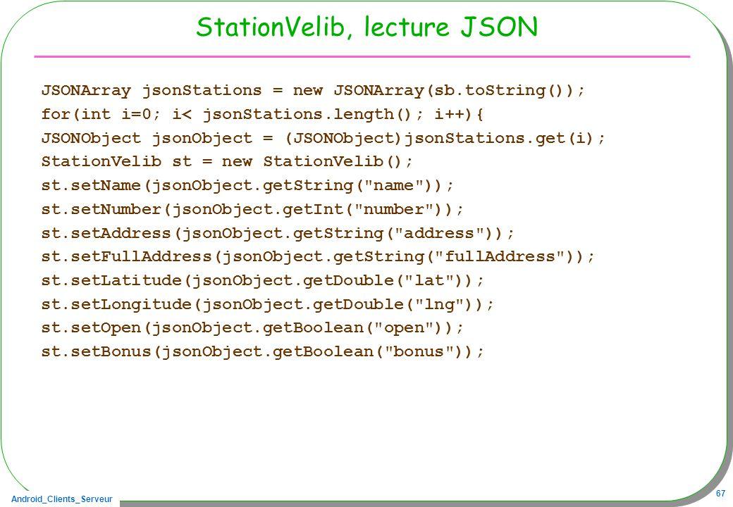 StationVelib, lecture JSON