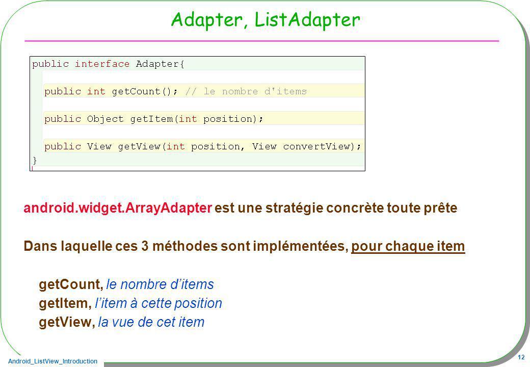 Adapter, ListAdapter android.widget.ArrayAdapter est une stratégie concrète toute prête.