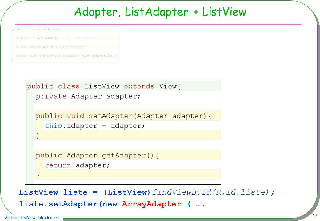 Adapter, ListAdapter + ListView