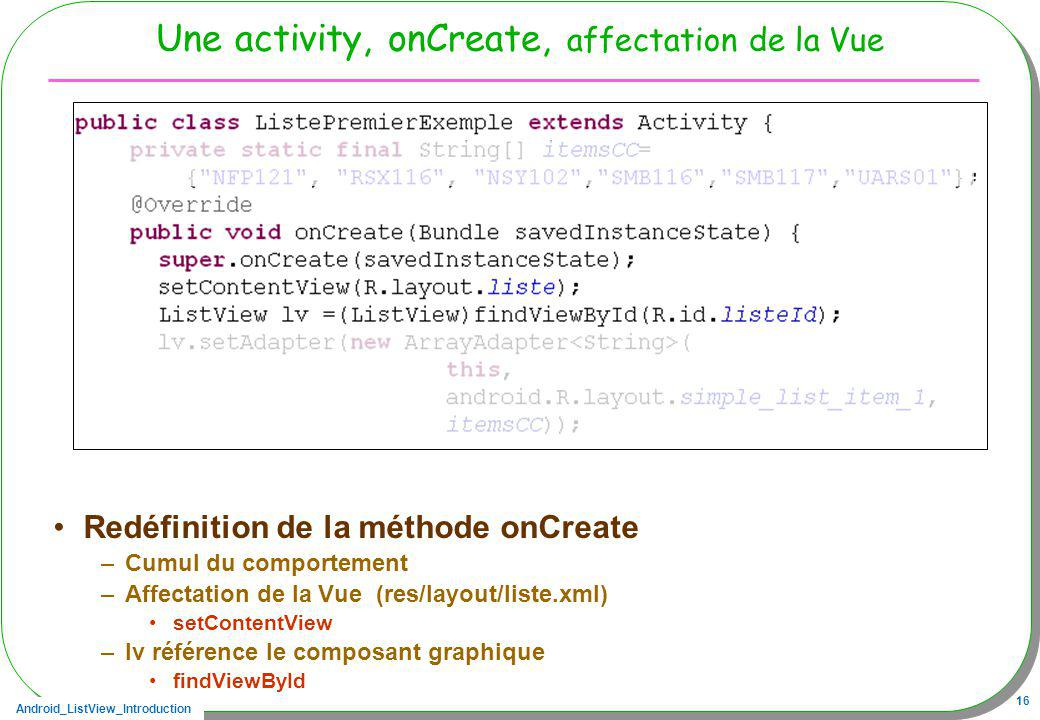 Une activity, onCreate, affectation de la Vue
