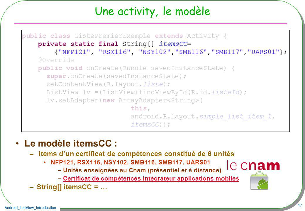 Une activity, le modèle Le modèle itemsCC :