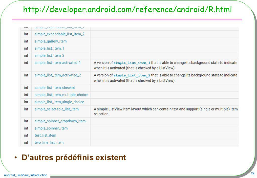 http://developer.android.com/reference/android/R.html D'autres prédéfinis existent