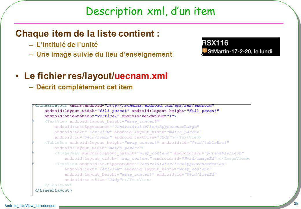 Description xml, d'un item