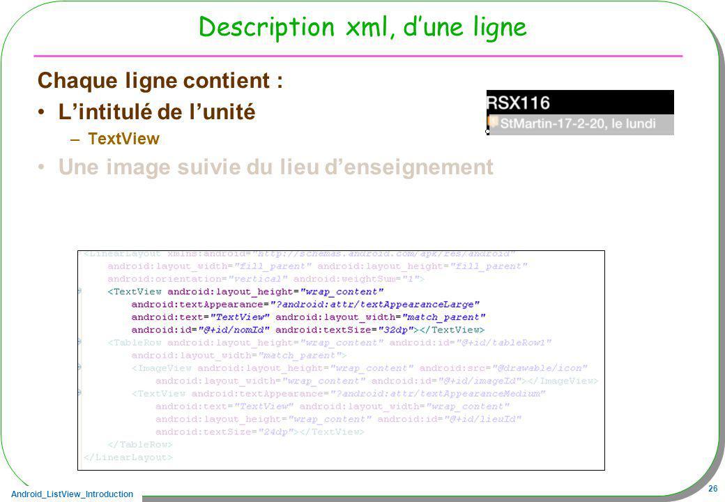 Description xml, d'une ligne