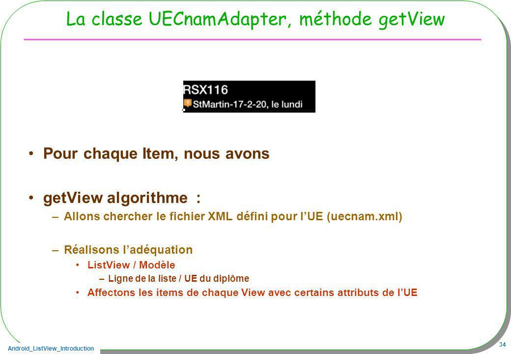 La classe UECnamAdapter, méthode getView