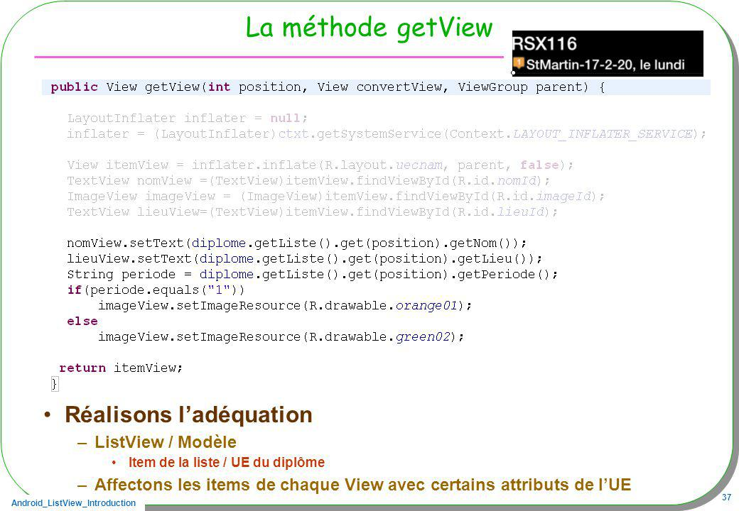 La méthode getView Réalisons l'adéquation ListView / Modèle
