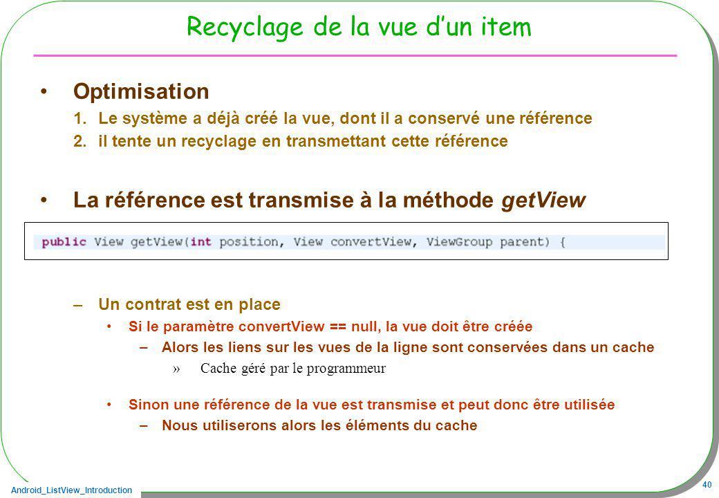 Recyclage de la vue d'un item
