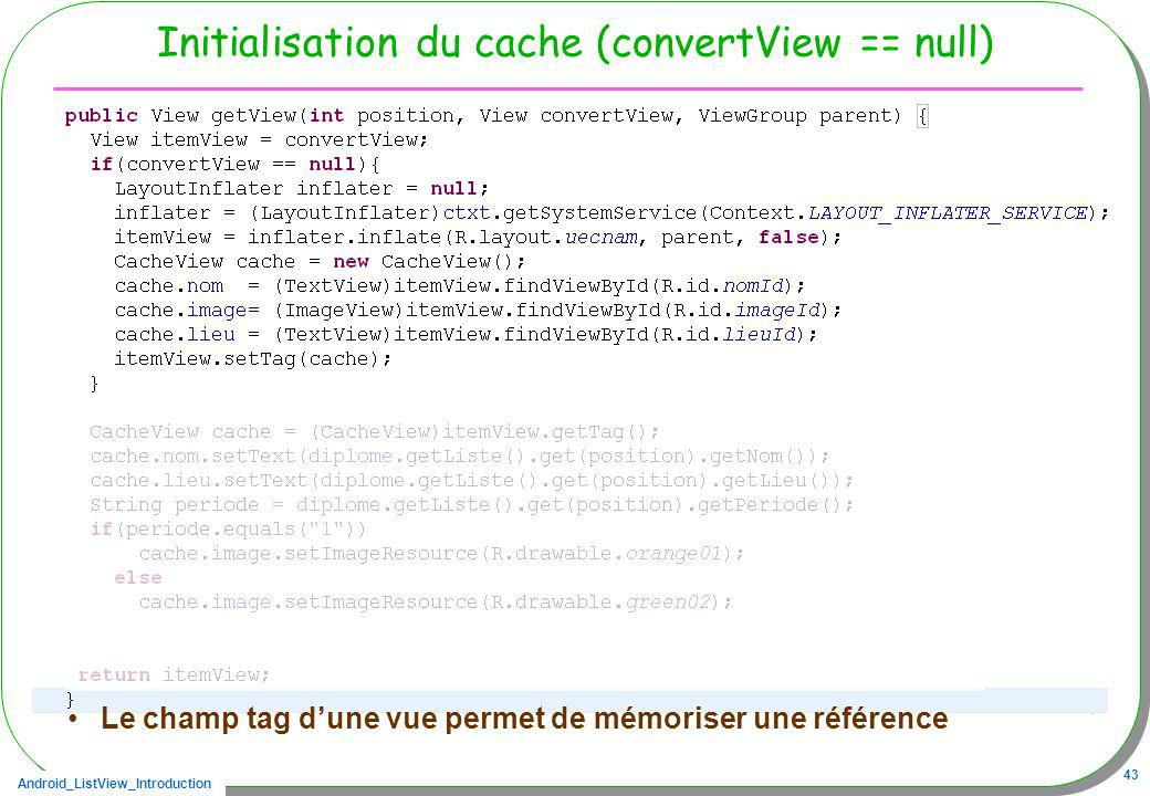 Initialisation du cache (convertView == null)