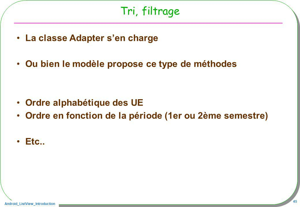 Tri, filtrage La classe Adapter s'en charge