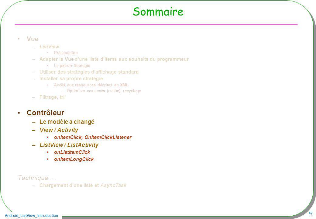 Sommaire Contrôleur Vue Technique … Le modèle a changé View / Activity