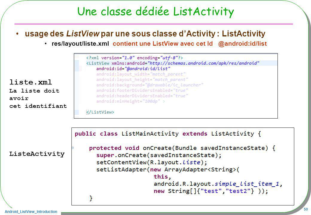 Une classe dédiée ListActivity