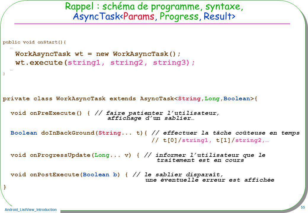 Rappel : schéma de programme, syntaxe, AsyncTask<Params, Progress, Result>
