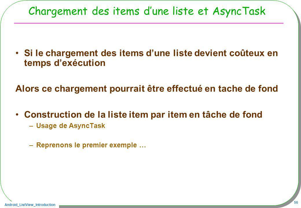 Chargement des items d'une liste et AsyncTask