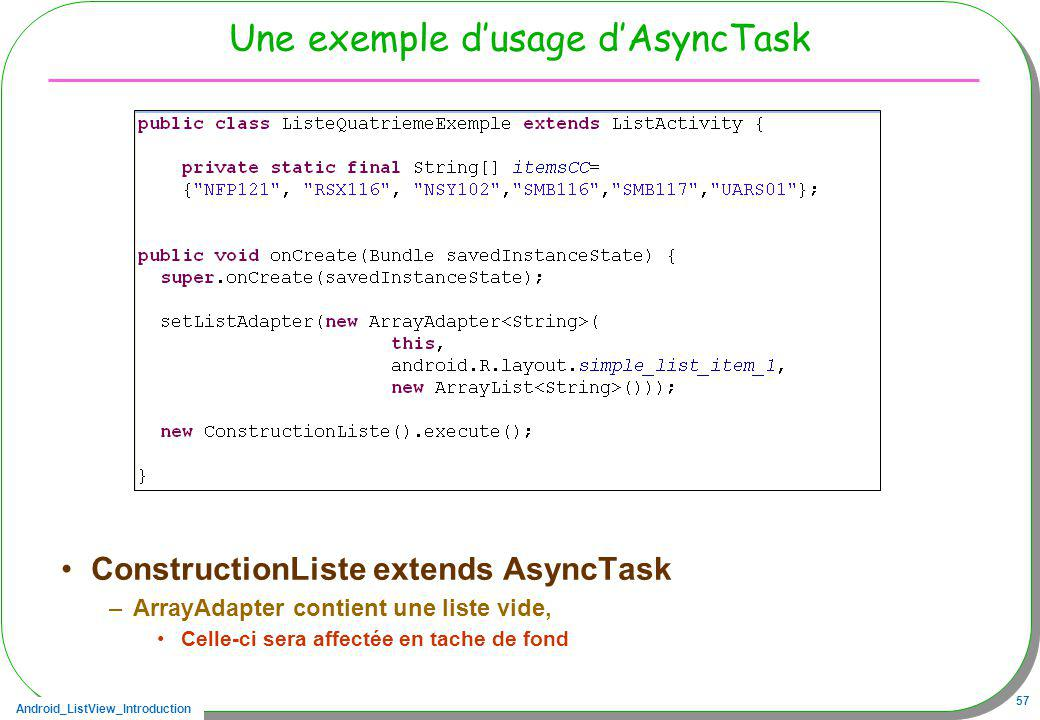 Une exemple d'usage d'AsyncTask