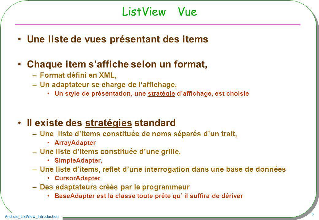 ListView Vue Une liste de vues présentant des items