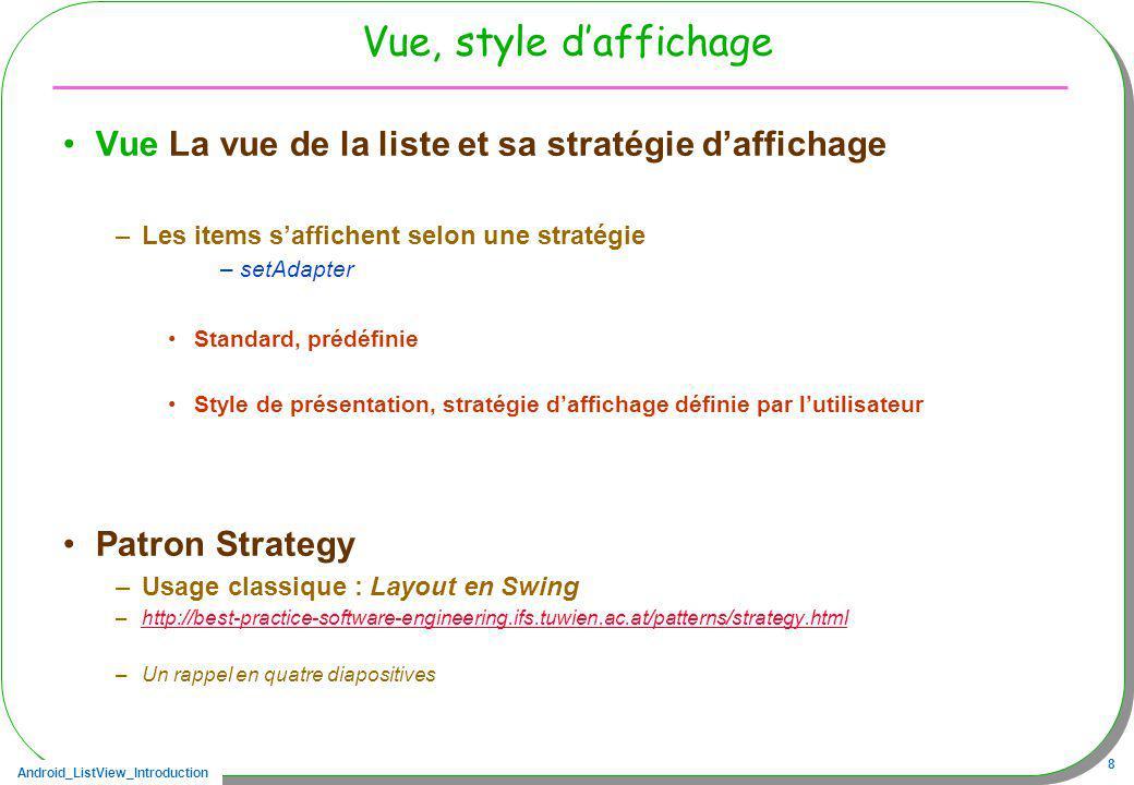 Vue, style d'affichage Vue La vue de la liste et sa stratégie d'affichage. Les items s'affichent selon une stratégie.
