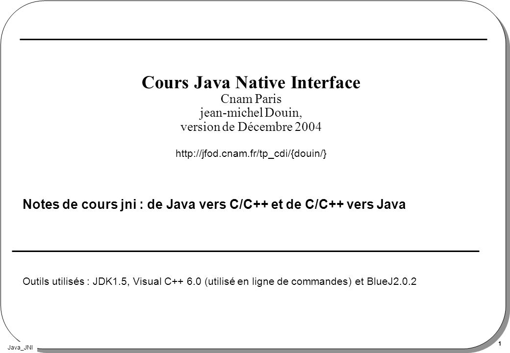 Cours Java Native Interface