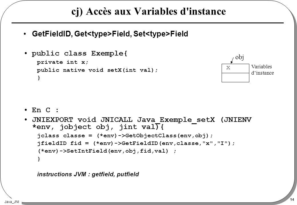 cj) Accès aux Variables d instance